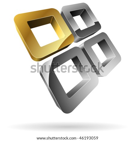 3D rounded steel squares with golden one. - stock vector