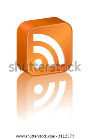 3D RSS icon - stock vector