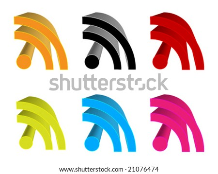 3d rss icon different colors vector illustration - stock vector