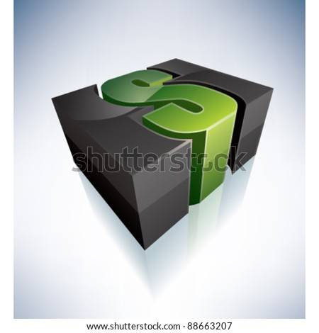 3D S green logo letter - stock vector