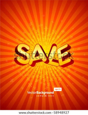 3d sale message vector background - stock vector