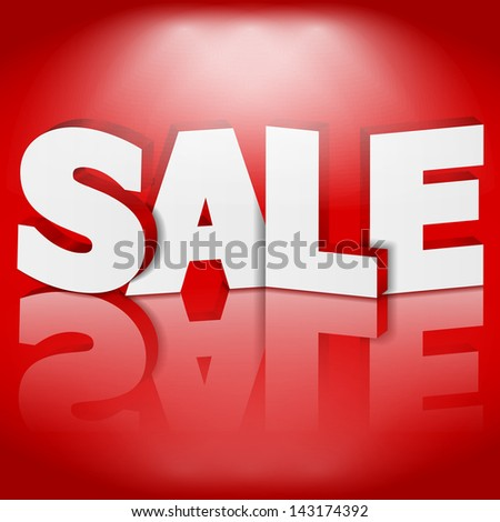 3D Sale on red background, vector eps10 illustration - stock vector
