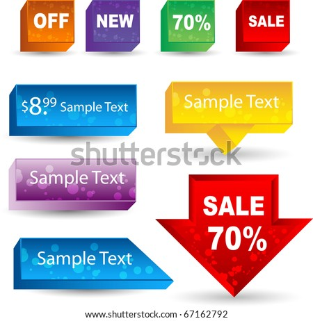 3d sales labels or tags - stock vector