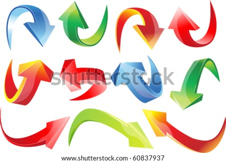 3d set arrows - stock vector