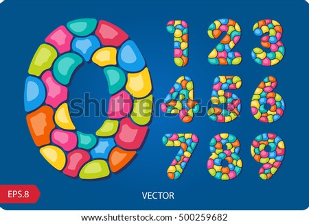 3d set of joyful, colorful numbers from 1 to 0, made up of bubbles. Zero 0 One 1 Two 2 Three 3 Four 4 Five 5 Six 6 Seven 7 eight 8 nine 9.Vector. Eps 8.