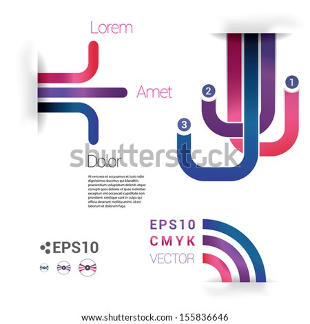 3d shadowed paper background with cmyk color concept retro lines in an abstract geometric eps10 vector composition for universal use - stock vector