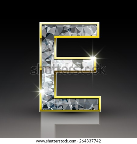 3d shiny diamond letter E isolated on black background - stock vector