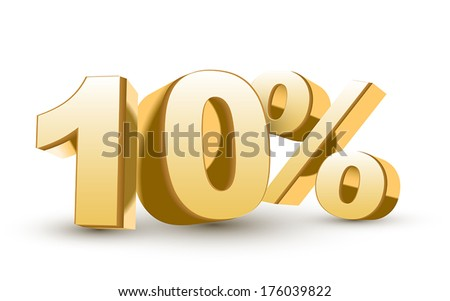 3d shiny golden discount collection - 10 percent isolated white background - stock vector