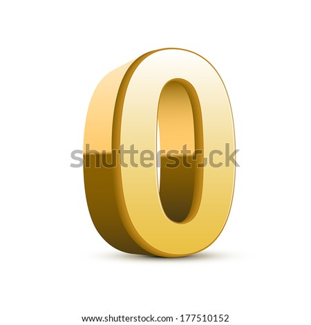 3d shiny golden number 0 on white background - stock vector