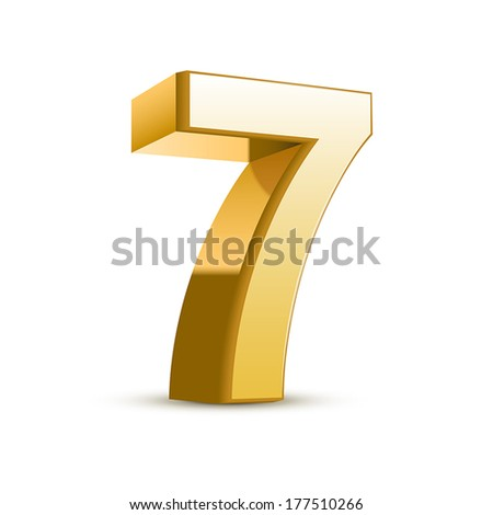 3d shiny golden number 7 on white background - stock vector