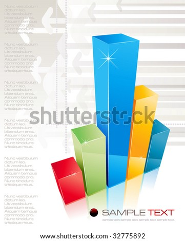 3D shiny graph - vector illustration - stock vector