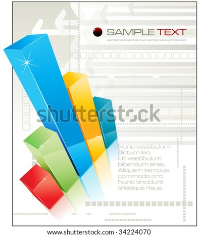 3D shiny graph with reflection - vector illustration - stock vector