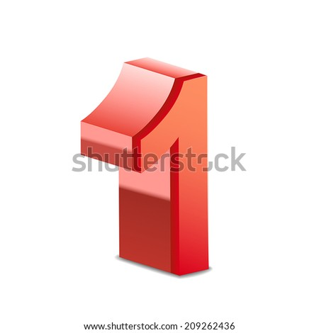 3d shiny red number 1 isolated on white background - stock vector