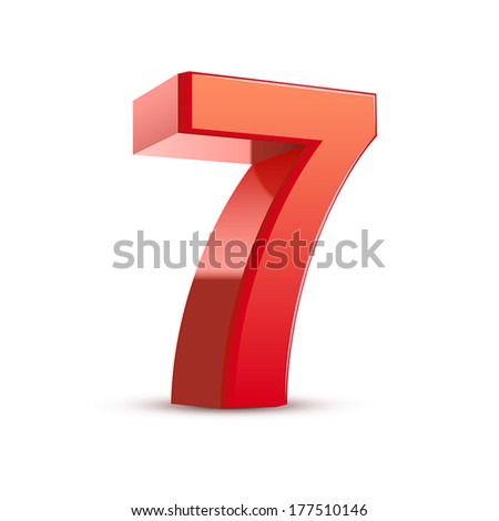 3d shiny red number 7 on white background - stock vector