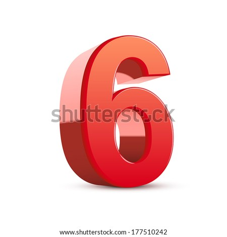 3d shiny red number 6 on white background - stock vector