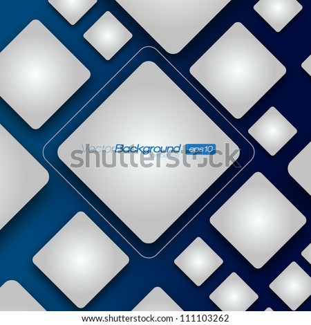 3D Shiny Rounded Squares on dark background | EPS10 Vector Illustration - stock vector