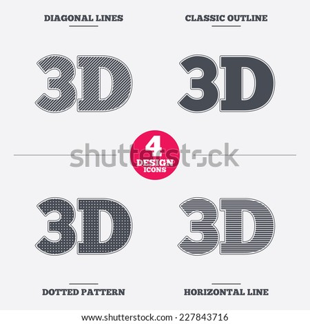 3D sign icon. 3D New technology symbol. Diagonal and horizontal lines, classic outline, dotted texture. Pattern design icons.  Vector - stock vector
