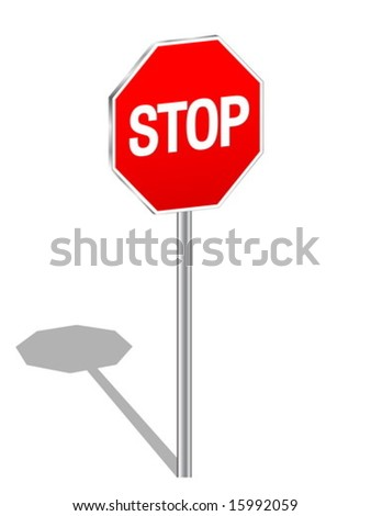 3d sign stop isolated on a white background. Vector illustration.