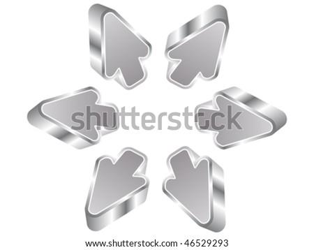3d silver arrows - stock vector