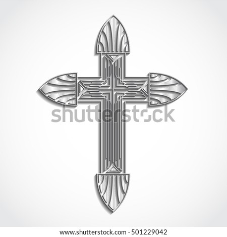 3d silver cross / art deco stile