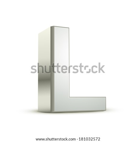 3d silver letter L isolated white background - stock vector