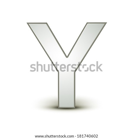 3d silver letter Y isolated white background - stock vector
