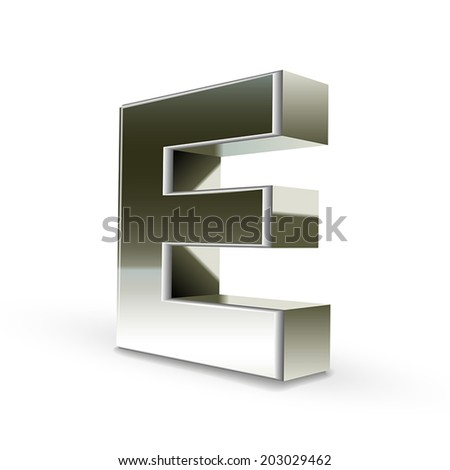 3d silver steel letter E isolated white background