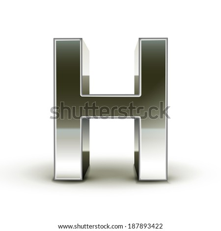 3d silver steel letter H isolated white background - stock vector