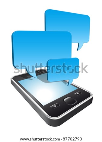 3d smartphone with speech bubbles hovering