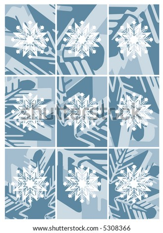 3D snowflakes cropped behind white snowflakes poster size - stock vector