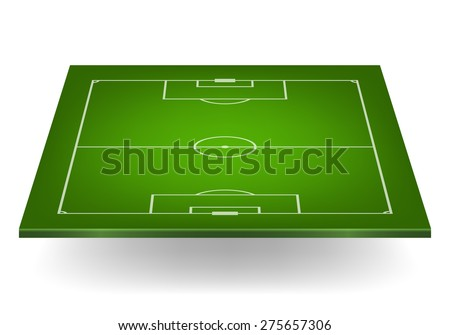 3d soccer field, isolated on white. Vector EPS10 illustration.