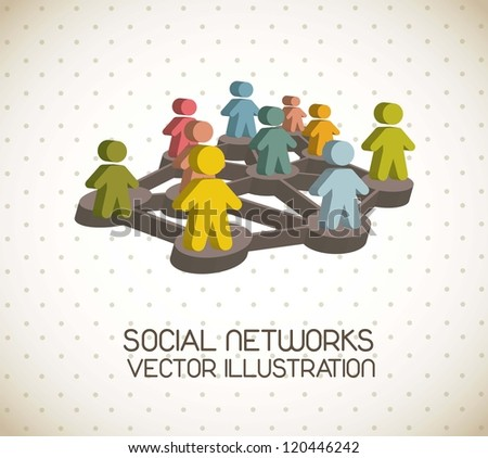 3d social network illustration, vintage style. vector illustration - stock vector
