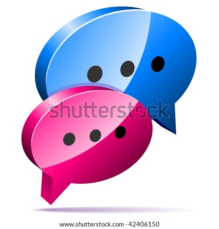 3D speech bubbles. Blog, chat or forum web icon. - stock vector