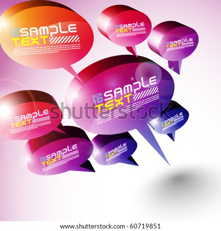 3D Speech Bubbles Design - stock vector