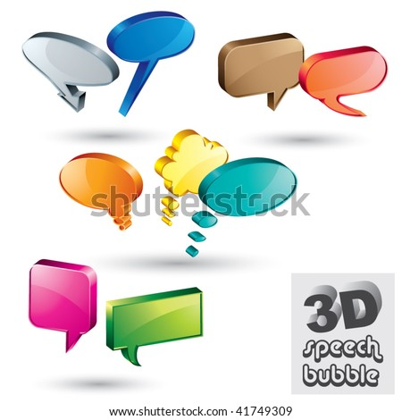 3d speech bubbles vector set. - stock vector