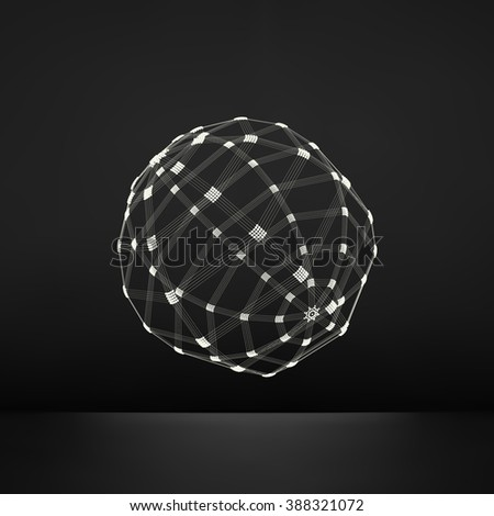 3d Sphere. Global Digital Connections. Technology Concept. Vector Illustration. Wireframe Object with Lines and Dots. Geometric Shape for Design. Lattice Geometric Element, Emblem and Icon.