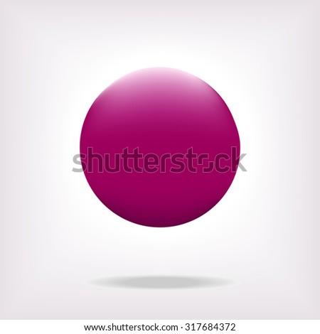 3D sphere pink vector illustration. - stock vector