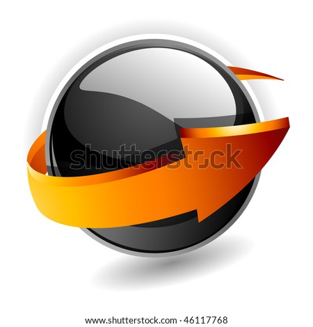 3d sphere with arrow vector illustration - stock vector