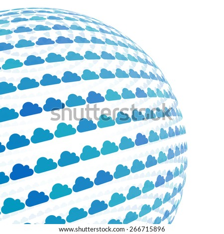 3d sphere with blue cloud pattern vector background, isolated - stock vector