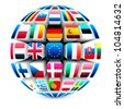 3d sphere with 27 european union flags vector - stock photo