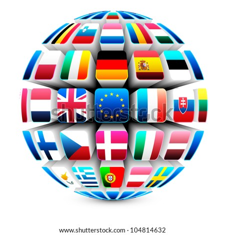 3d sphere with 27 european union flags vector - stock vector