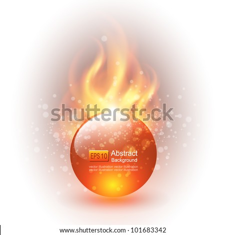 3D sphere with fire flames as vector background. - stock vector