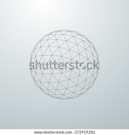 3D sphere with global line connections. Futuristic vector illustration. HUD element. Wireframe polygonal mesh shape. - stock vector