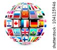 3d sphere with world flags vector - stock photo