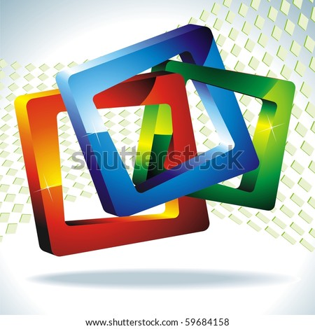 3d squares. Geometric shapes. EPS10. Vector - stock vector