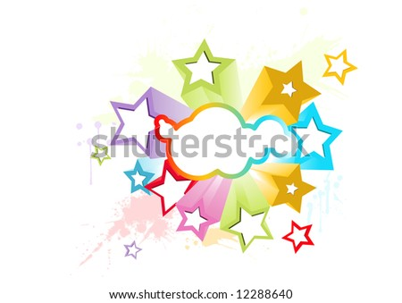 3d stars vector design with lots of colors