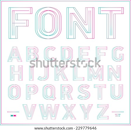 3D stereo effect type font. Vector illustration. - stock vector