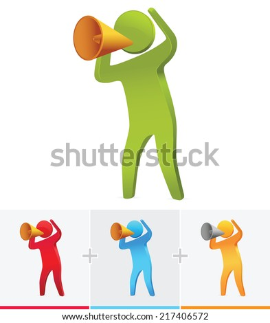 3d stick figure speaking out loud using megaphone - stock vector