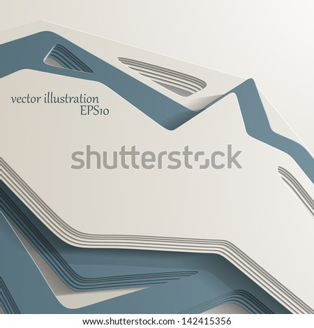 3D style, abstract background with lots of layers - stock vector