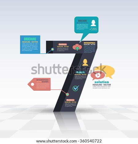 3d Style Number 7, Flat Infographics Design and Web Elements. Business, Marketing Concept Vector Template - stock vector